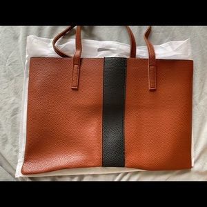 Vince Camuto vegan leather brown tote